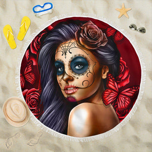 Shopeholic:Calavera Girl - Red - Beach Blanket