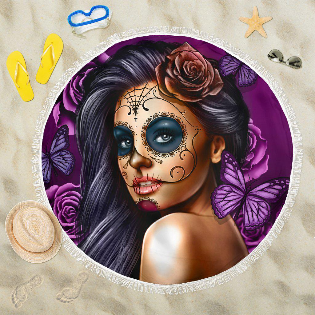 Shopeholic:Calavera Girl - Purple - Beach Blanket