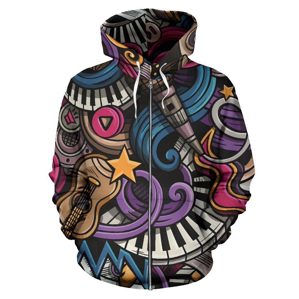Shopeholic:Music Zip-Up Hoodie