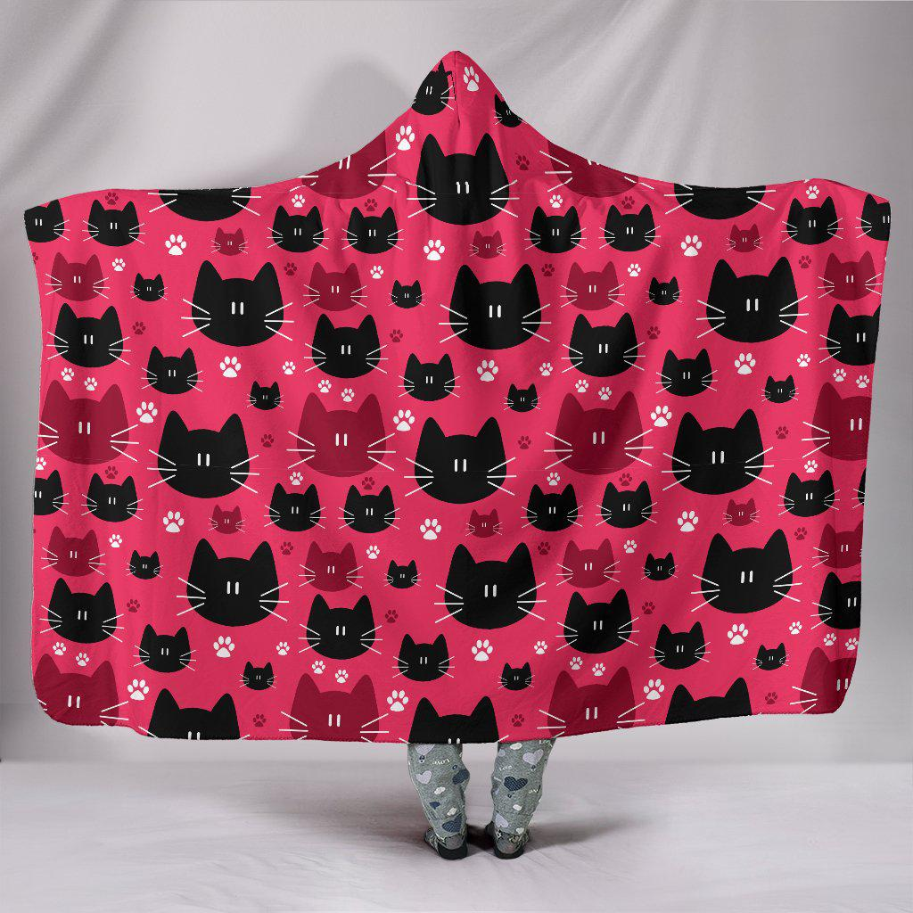 Shopeholic:Red & Black Cats Hooded Blanket