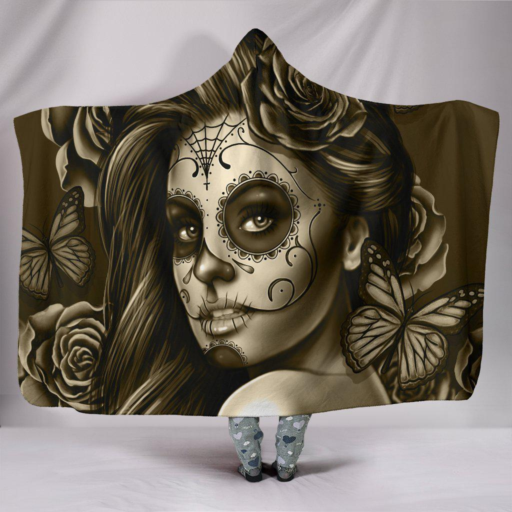 Shopeholic:Calavera Girl - Sepia - Hooded Blanket