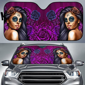 Calavera Girl - Purple - Auto Sun Shade