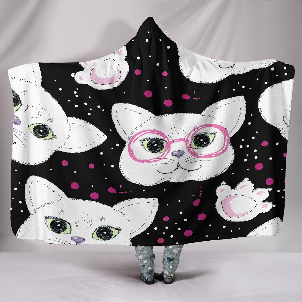 Shopeholic:White Cats Hooded Blanket