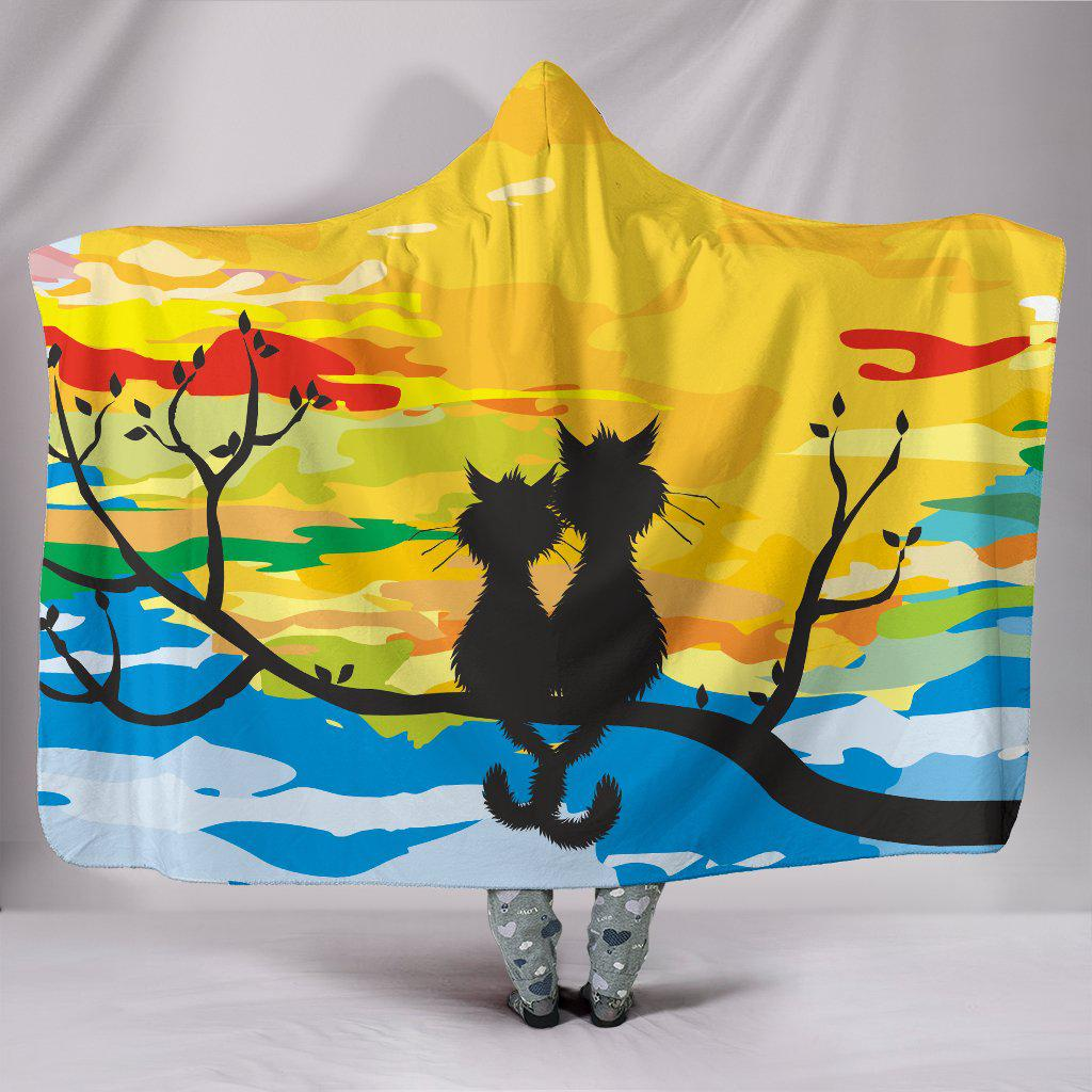Shopeholic:Sunset Couple Cats Hooded Blanket