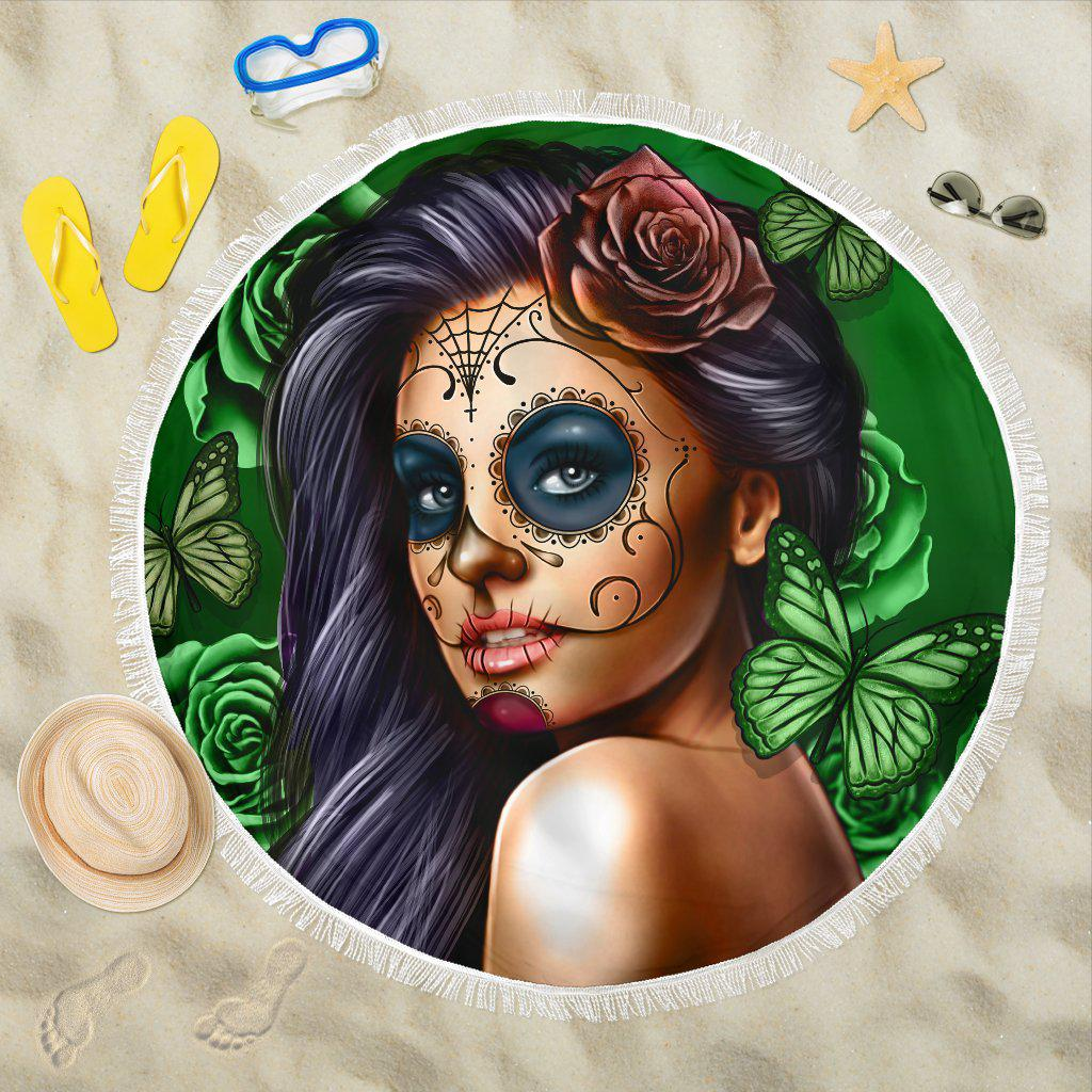 Shopeholic:Calavera Girl - Green - Beach Blanket