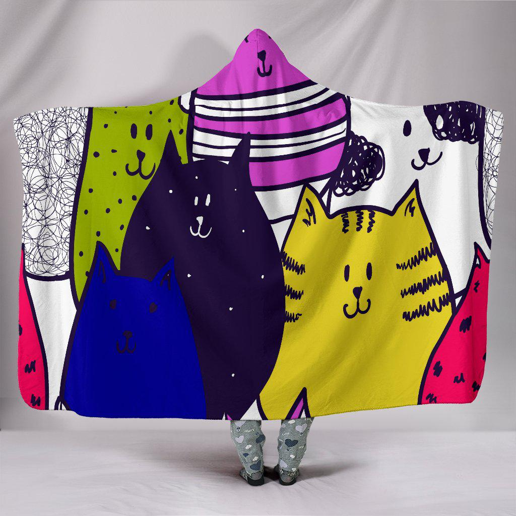 Shopeholic:Colorful Cats Hooded Blanket