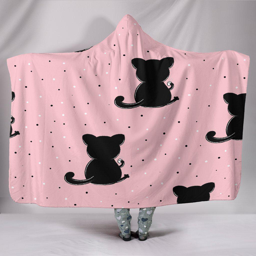 Shopeholic:Black Cats In Pink Hooded Blanket