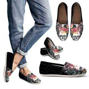 Shopeholic:Flowers & Skull Women's Casual Shoes
