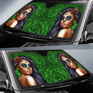 Calavera Girl - Green - Auto Sun Shade