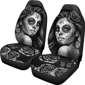 Shopeholic:Calavera Girl - B/W - Car Seat Covers