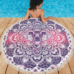 Shopeholic:Lucky Purple Elephant Mandala Roundie Beach Blanket