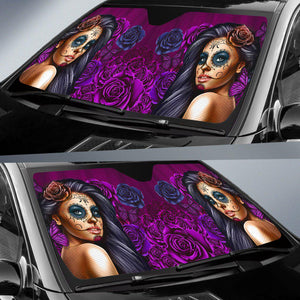 Shopeholic:Calavera Girl - Purple - Auto Sun Shade