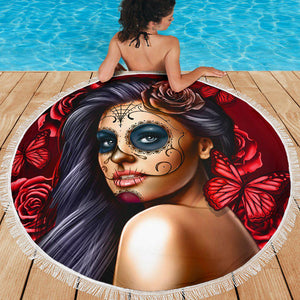Calavera Girl - Red - Beach Blanket