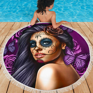 Calavera Girl - Purple - Beach Blanket