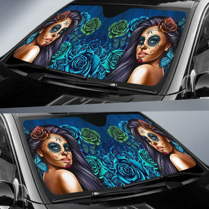 Calavera Girl - Blue - Auto Sun Shade