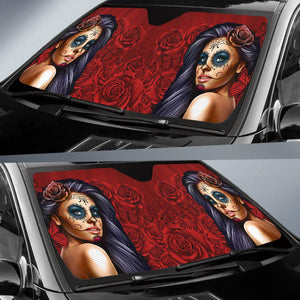 Shopeholic:Calavera Girl - Red - Auto Sun Shade