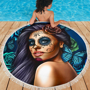 Calavera Girl - Blue - Beach Blanket