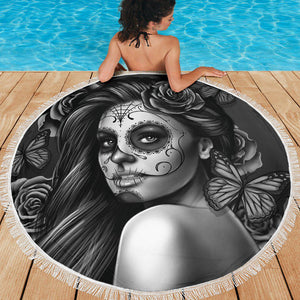 Calavera Girl - B/W - Beach Blanket