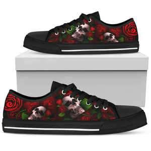 Shopeholic:Sugar Skull Red Women's Low Top Shoes