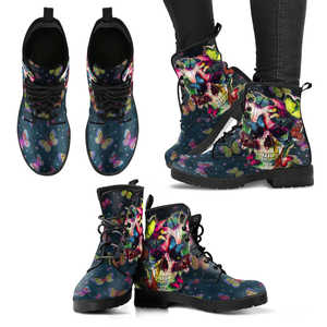 Shopeholic:Butterfly Skull Women's Handcrafted Premium Boots