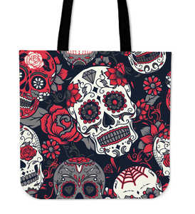 Shopeholic:Skull With Roses Tote Bag Red