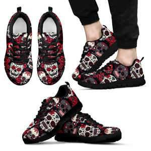 Shopeholic:Sugar Skull Red and Black - Men's Sneakers