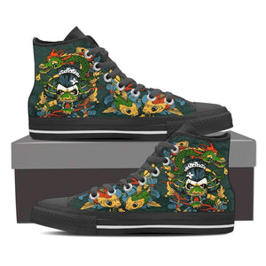 Japanese Theme - Men's High Top Canvas Shoes-Mens High Top - Black - Japanese Theme 1 - Black-PP.2390231-Shopeholic
