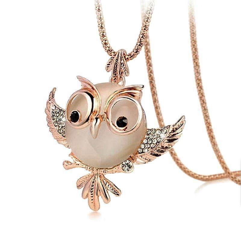 Shopeholic:Opal Owl Fashion Necklace