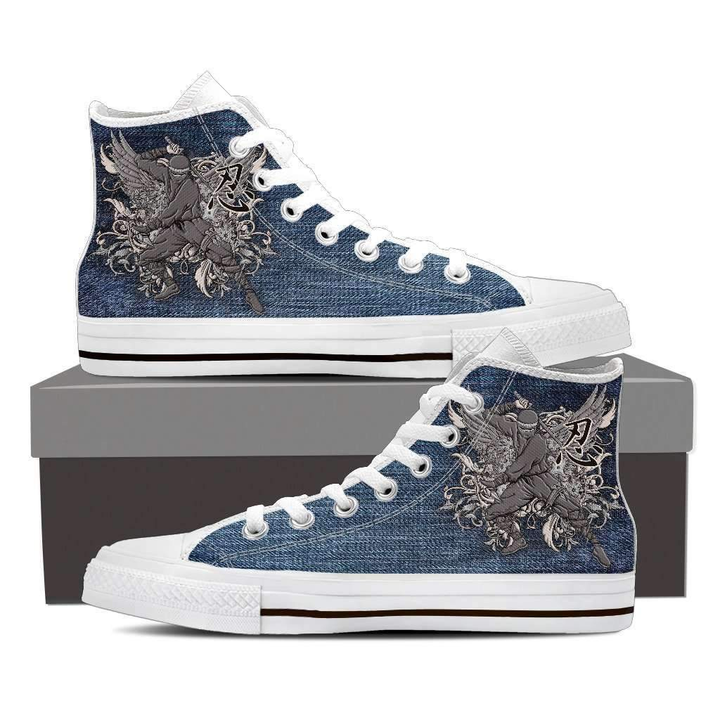 Samurai 1 - Men's High Top Canvas Shoes-Mens High Top - White - Samurai 1-PP.2396482-Shopeholic