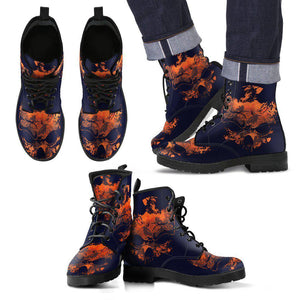 Skull Art - MEN's Leather Boots-Shoes-PP.5791247-Men's Leather Boots - Black - Skull Art - Dark Blue-Shopeholic