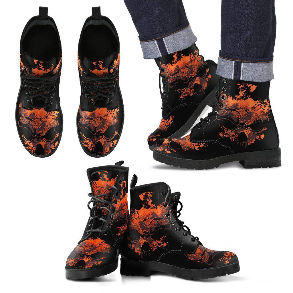 Skull Art - MEN's Leather Boots-Shoes-PP.5791238-Men's Leather Boots - Black - Skull Art - Black-Shopeholic