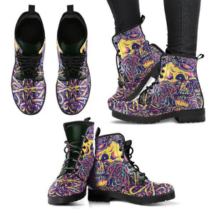 Skull-Thorns-Roses Women's Leather Boots-Shopeholic