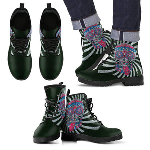 Trippy Skull - Men's Leather Boots-Shoes-Shopeholic