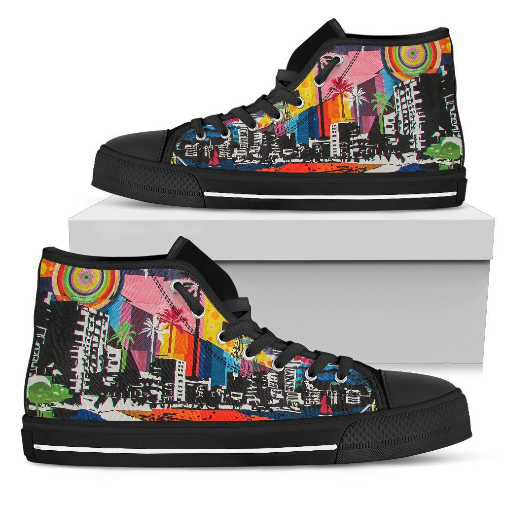Shopeholic:Urban Mosaic - Men's High Top Canvas Shoes