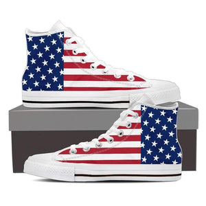 US Flag - Men and Women's High Top Canvas Shoes-Mens High Top - White - US Flag-PP.1384901-Shopeholic