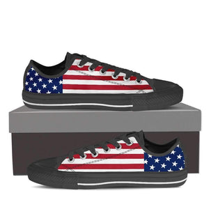 US Flag - Men and Women's Low Top Canvas Shoes-Mens Low Top - Black - US Flag-PP.1383924-Shopeholic
