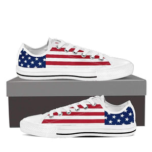US Flag - Men and Women's Low Top Canvas Shoes-Mens Low Top - White - US Flag-PP.1383931-Shopeholic