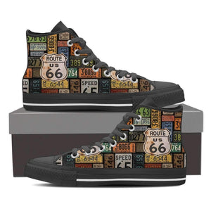 US Route 66 - Plates - Men's High Top Canvas Shoes-Mens High Top - Black - Route US 66 Plates 1 - Black Sole-PP.1330011-Shopeholic