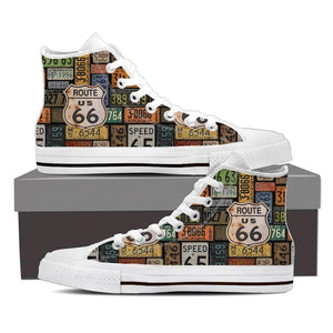 US Route 66 - Plates - Men's High Top Canvas Shoes-Mens High Top - White - Route US 66 Plates 1 - White Sole-PP.1330018-Shopeholic
