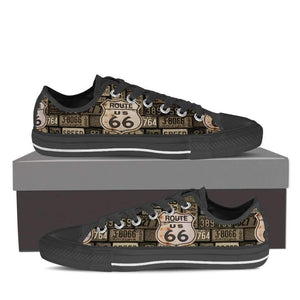 US Route 66 - Plates - Men's Low Top Canvas Shoes-Mens Low Top - Black - US ROUTE 66 - PLATES 1 - Black Sole-PP.1344262-Shopeholic