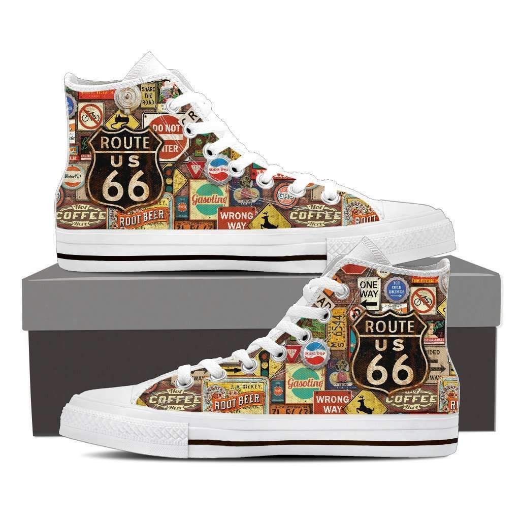 US Route 66 - Signages - Men's High Top Canvas Shoes-Mens High Top - White - US Route 66 - Signages 1 - White Sole-PP.1363841-Shopeholic