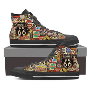 US Route 66 - Signages - Men's High Top Canvas Shoes-Mens High Top - Black - US Route 66 - Signages 1 - Black Sole-PP.1363850-Shopeholic