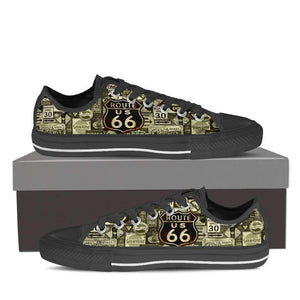 US Route 66 - Signages - Men's Low Top Canvas Shoes-Mens Low Top - Black - US Route 66 - Signages 1 - Black Sole-PP.1371329-Shopeholic