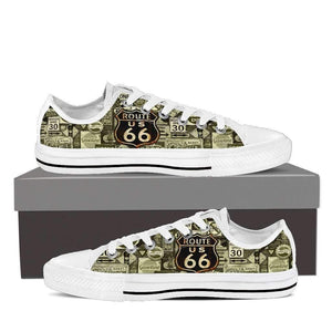 US Route 66 - Signages - Men's Low Top Canvas Shoes-Mens Low Top - White - US Route 66 - Signages 1 - White Sole-PP.1371336-Shopeholic