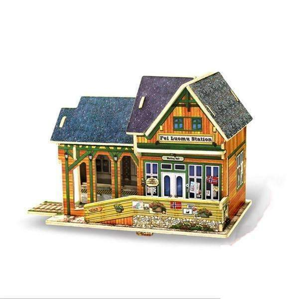 Shopeholic:Wooden Buildings 3D Puzzle