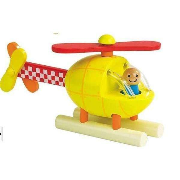 Wooden Toddler Aircraft-Yellow Helicopter-WoodenToddlerAircraft-1-Shopeholic