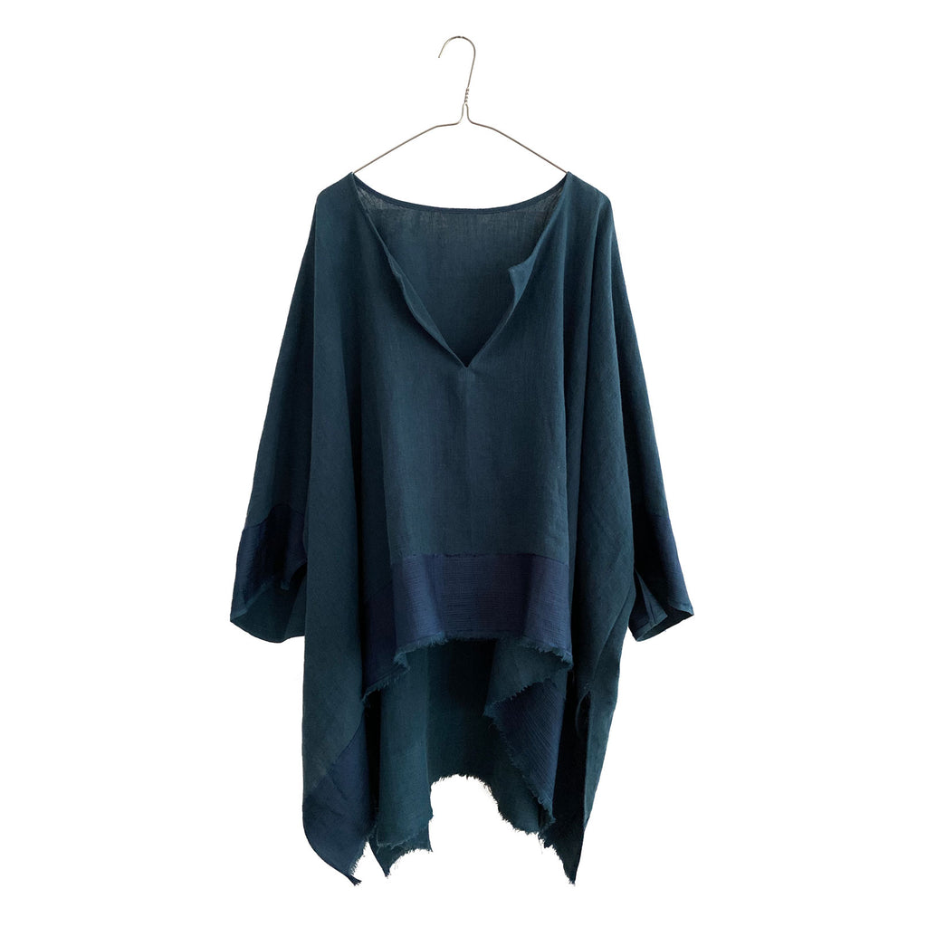 Linen Off-Grain Wide Tunic w/ silk border