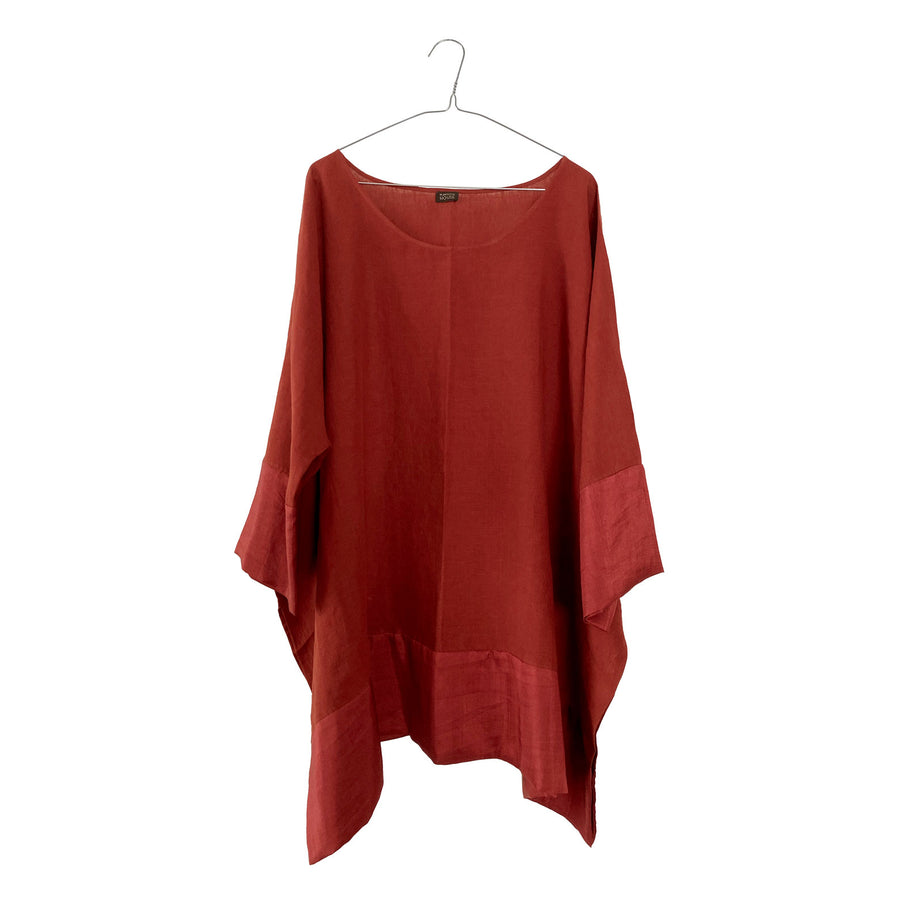 Linen Wide Tunic with Silk Border
