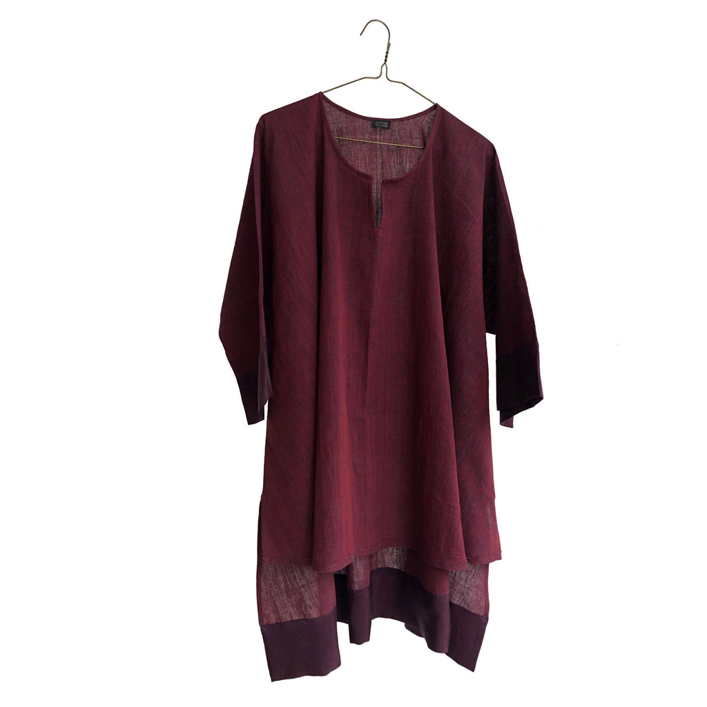 Trapeze Wide Tunic with Silk Border