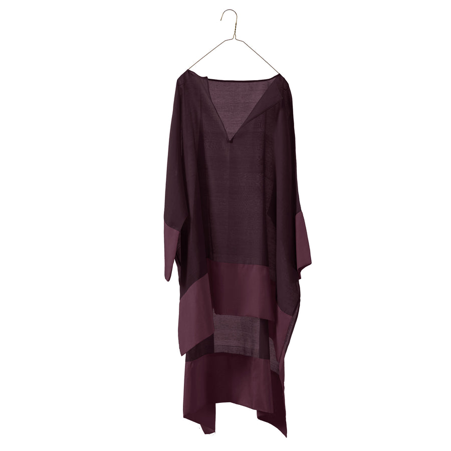 Sheer Up & Down Wide Tunic with Silk Border
